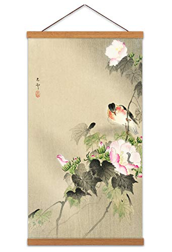 Ohara Koson Bird and Caterpillar Canvas Wall Art Print Poster Magnetic Hanger Clip Frame 24x12 Inch Vogel Wand