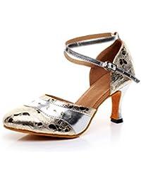 JSHOE Zapatos De Baile Con Hebilla Metálica Criss Cross Strap Para Mujer Salsa/Tango/Chacha/Samba/Modern/Jazz...