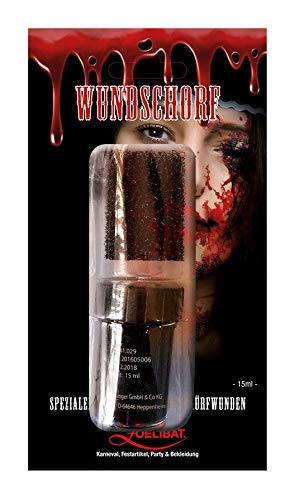 Zoelibat Halloween Wundschorf, Kunstblut mit Schwamm zum Schminken von Schürfwunden, 1er Pack(1 x 1 Stück) -