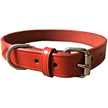 HAND-CRAFTED RED SOFT LEATHER DOG COLLAR TRAINING STRONG MEDIUM/LARGE TERRIER SPANIEL LABRADOR (LARGE (55 cm))