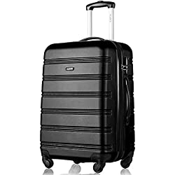 Flieks Hartschale Trolley Koffer Reisekoffer Zwillingsrollen Reisekoffer mit Zahlenschloss Handgepäck mit 4 Doppel-Rollen, XL-L-M (XL, Schwarz)
