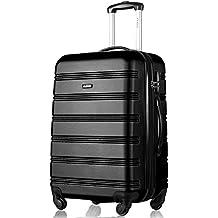 Flieks® Hartschale Trolley Koffer Reisekoffer Zwillingsrollen Gepäck mit Zahlenschloss Handgepäck mit 4 Rollen, XL-L-M