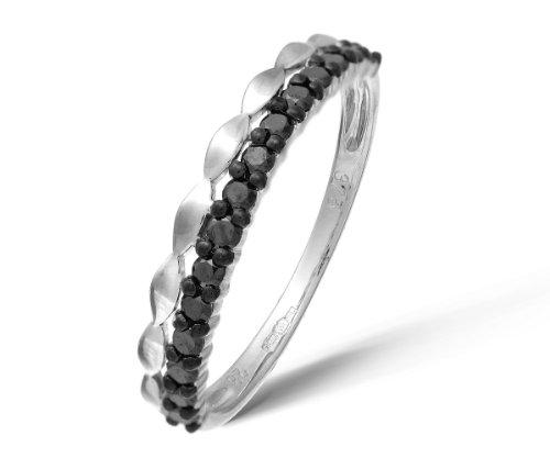 Ariel - DR1104W BLK DIA-L, Anello in oro bianco con diamante nero, 11  1/2