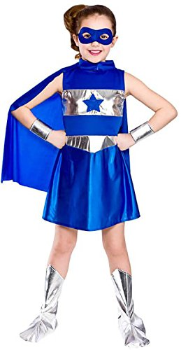 Alt Kostüm Jahre 2 Kreative - GIRLS BLUE AVENGING SUPER HERO FANCY DRESS COSTUME
