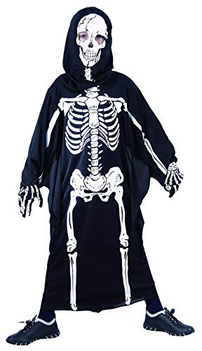 Magicoo Horror Skelett Kostüm Kinder Jungen schwarz-weiß - gruseliges Zombie Halloween Kostüm Jungen Gr. 110 bis 140 (122/128)