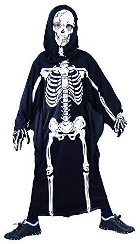Gruselig Kostüm Kinder - Magicoo Horror Skelett Kostüm Kinder Jungen schwarz-weiß - gruseliges Zombie Halloween Kostüm Jungen Gr. 110 bis 140 (134/140)