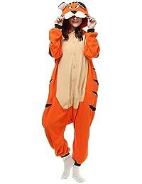 Unisex Animal Pijama Ropa de Dormir Cosplay Kigurumi Onesie Tigre de Bengala Disfraz para Adulto Entre