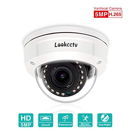 lookcctv 5MP Sicherheitskuppel IP-Kamera Wetterfest für den Innenbereich, H.265 Super HD 2592 x 1920 P Netzwerk POE-Kamera mit 2,8-12 mm Varioobjektiv Nachtsicht,Bewegungsalarm,Unterstützung für ONVIF Super Ir-wetterfeste Kamera