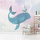 Cartoon Whale Castle Farbe Sky Wallpaper 3D Benutzerdefinierte Wandverkleidung Wohnkultur Wandkunst Kinderzimmer Schlafzimmer Sofa Wohnzimmer Tv Hintergrund Wand 300 * 200 Cm
