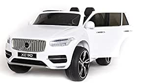 Volvo XC90 Elektrisches Auto für Kinder, Weiss Lackiert, 2.4Ghz Fernbedienung, 2 MOTOREN, Zweisitzer in Leder, Weiche EVA Räder, MP3 USB SD, Original-Lizenz