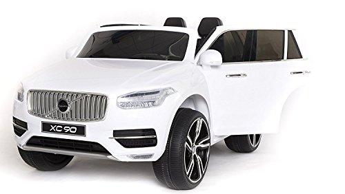 #Volvo XC90 Elektrisches Auto für Kinder, Weiss Lackiert, 2.4Ghz Fernbedienung, 2 MOTOREN, Zweisitzer in Leder, Weiche EVA Räder, MP3 USB SD, Original-Lizenz#