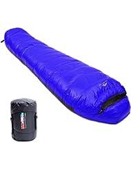 LMR Outdoor Down Sleeping Bag Ultra Leggero sacchi a pelo mummia per campeggio e trekking viaggiare (zaffiro)