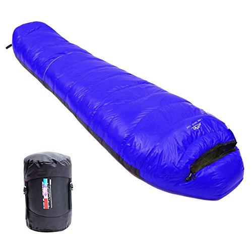 LMR Ultraligero Saco de Dormir Tipo Momia, para las 4 temporadas,a prueba de agua, Saco de compresión (Azul Rey)