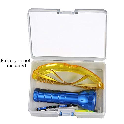 Auto-Lecksucher-Set, R134A R12 Klimaanlage A/C Leck-Test, mit UV-Farbstoff, Fluoreszierendes Öl, Erkennungs-Taschenlampe, Schutzbrille