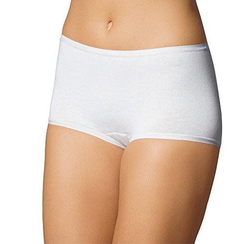 5er Pack Damen Pants – UNWAGO - Unterhosen ohne Seitennähte – Damenpant mit flachen Abschlüssen – Panties mit weichem Griff – Weiß, Schwarz, Skin – Gr. 38 bis 44 Weiß