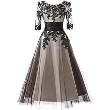 Gladiolus Vestido de Fiesta Corto Encaje Cordón Trasero Elegante y Encantador - Negro - 5XL