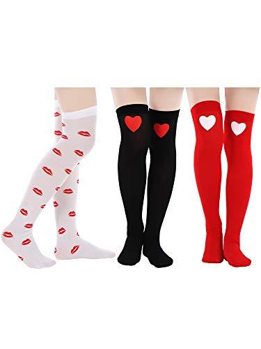 Blulu 3 Paare Valentinstag Socken Liebes Herz Kniestrümpfe Rote Lippe Bedruckte Strümpfe zum Valentinstag Damen und Mädchen Favor (Gestreifte Strümpfe Mit Roten Herzen)