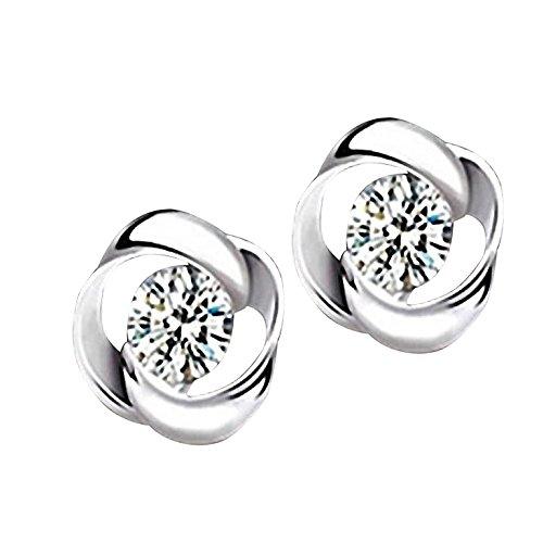 Meclelin Damen Ohrstecker 1 Paar Versilberung Kristall Shiny Ohrstecker Ohrringe Frauen