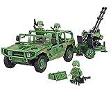 Modbrix NATO Humvee Artillerie Kampffahrzeug inkl. Flak Kanone auf Rädern und 4 Minifigur Soldaten, Konstruktionsspielzeug, 320 Teile
