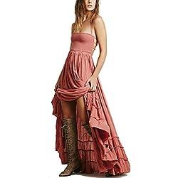 Horbous vestido largo sin tirantes sin tirantes de mujer Long Beach Boho vestido sin tirantes de algodón (5 colores) (Rosado), XL