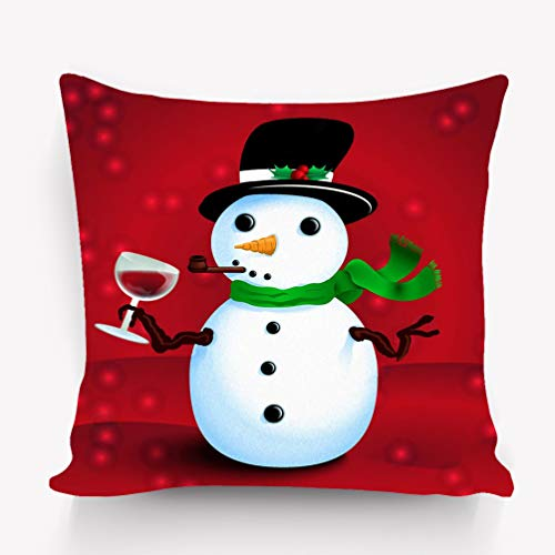 e Cushion Case - Throw Pillow Case Decor Cushion Covers Square with Hidden Zipper Closure - 18x18 inches, Twin-Sided Print Drunken Snowman Printable Christmas New Year Greeting ()