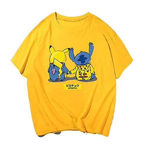 WQWQ Pokemon Kurzarmhemd Pikachu Weihnachten Rundhals Kurzarm Pokémon Kostüme Männliche und weibliche Mode Pika Geschenke,C,XXXL (Anime Pikachu Weibliche)