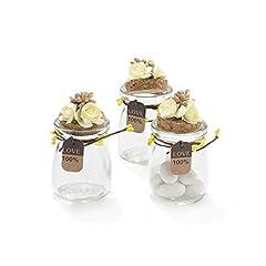 Idea Regalo - 20 Pezzi Barattolo Vetro Con Tappo In Sughero Porta confetti Bomboniera Incluso Decorazione Fatto A Mano Fiore pistilli Etichetta Tema Naturale (GIALLO)