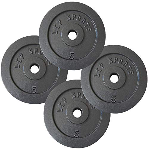 LCP Sports 20 kg Hantelscheiben Set 4 x 5 kg Gusseisen Gewichte 30/31 mm Bohrung