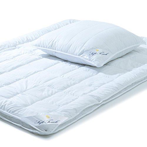 aqua-textil Soft Touch, Bettdecken Set, 4 Jahreszeiten Bett 135 x 200, Kopfkissen 80 x 80, Steppdecke Winter Sommer, Steppbetten Kochfest weiß, 0011640