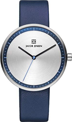 Jacob Jensen Strata Women's Quartz Watch with Silver Dial Analogue Display and Blue Leather Strap 282
