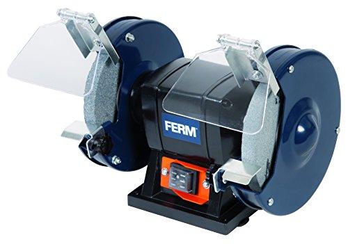 elektrischer schleifstein FERM Doppelschleifmaschine 150W - 150mm - Incl. P36 und P60 Schleifsteinen, Schutzbrille und Funkenfänger