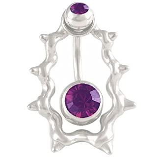 14Gauge 1.6mm 3/8 10mm Amethyst Crystal steel belly navel button ring bar Body Piercing Jewellery ABMS