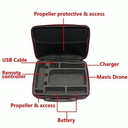 Fulltime® PC + ABS Hardshell Wasserdichte Tragetasche Suitcase Umhängetasche für DJI Mavic Pro RC Quadcopter, 29 x 21 x 11cm, Schwarz (Schwarz) - 4