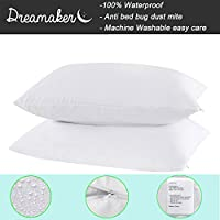 Dreamaker 100% Waterproof Bed Bug & Dust Mite Control Pillow Protector Zippered Pillowcase Cover Sham Set of 2