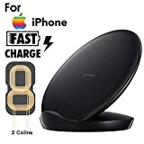 Costume para iPhone XS/XR/XS MAX, Bobinas de Doble Base de Carga qi Wireless Charger, Negro