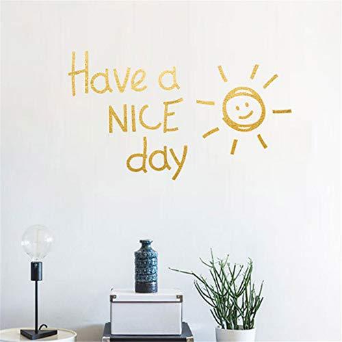 Wandtattoo Wohnzimmer Wandtattoo Schlafzimmer Haben Sie einen schönen Tag englische Alphabet-Aufkleber-Inneneinrichtung-Schlafzimmer-Kunst-Wohnzimmer-goldene silberne Sonne für Wohnzimmer - Tag-alphabet