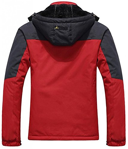 Herren Fleecejacke Wasserdichter Mantel Outdoor Winddichte Kapuzenjacken Rot
