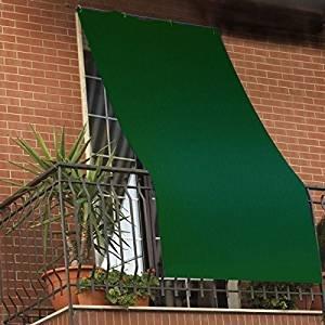 Galleria fotografica Tenda da sole per esterno tinta unita VERDE con anelli per balcone, terrazzo, casa - Cm 295x295