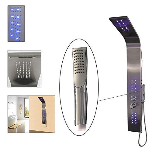 DRULINE Duschpaneel LED mit 4 Funktionen und Thermostat 140 x 45 x 22 cm Silber Blau
