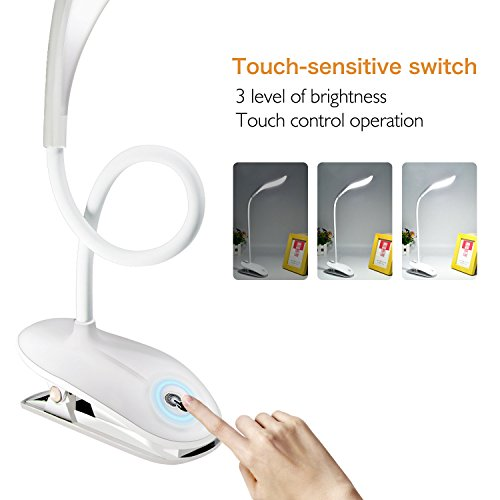 USB wiederaufladbar LED Buch Licht, Jinda Berührungsempfindlich Dimmbar Tischleselicht, Augenpflege