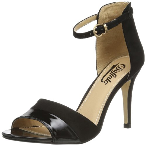 Buffalo Shoes 312339 SY SUEDE PATENT PU, Damen Knöchelriemchen Sandalen, Schwarz (BLACK 19), 38 EU