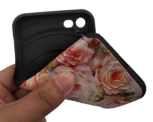 iPhone 7 Hülle, BENKER Hohe Qualität Kreativ Anti-Kratz Nicht Verblassen TPU Silikon Matte Telefon Fall - Blumen Rose