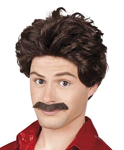 enenperücke Vance mit Schnurrbart, One Size (Bauer Kostüm Make Up)