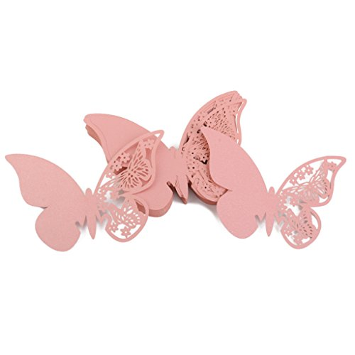Vetro Farfalla Decorazione Posto Le Carte Di Nozze Tabella Del Partito 50pcs Rosa