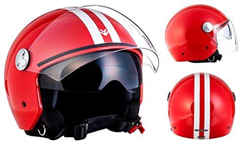 """Armor · AV-63 """"Fun Red"""" (red) · Casco Demi Jet · Motocicletta Scooter Piloto Helmet Urbano Moto · ECE certificato · Separate Visors · Click-n-Secure™ Clip · Borsa per il trasporto · L (59-60cm)"""