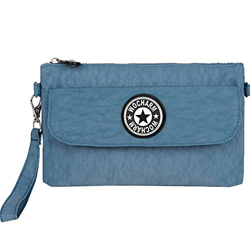 Wocharm Womens Zipper Purse Waterproof Nylon Wristlet Bag Clutch Handbag Cell Phone Pouch Wallet Coin Bags (Light Blue)