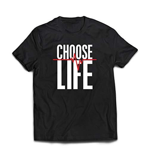 hirt Wählen Sie das Leben Herzschlag, Anti-Abtreibung politischen Protest, Christian Zitat (XXXX-Large Schwarz Mehrfarben) ()