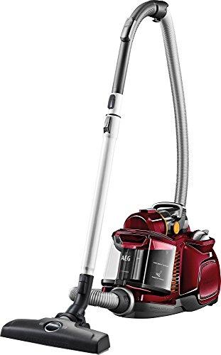 AEG LX7-2-CR-A Staubsauger ohne Beutel EEK A (750 Watt, inkl. Hartbodendüse, Turbo-Bodendüse und Spezialdüsen-Set zur Entfernung von Tierhaaren, 9 m Aktionsradius, Softräder, 1,4 Liter Staubbehälter, waschbarer Allergy Plus Filter) rot
