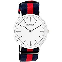 "RE:CRON women watch stainless steel 36 mm 1.42"" with textile wristband nylon maritime dark blue and red"