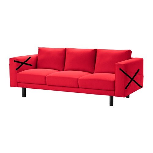 Ikea Bezug für Norsborg - nur Schonbezug, Finnsta Red, 3-Seat Sofa Section